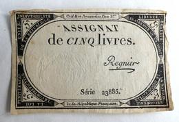 10 BRUMAIRE AN II ASSIGNAT 5 LIVRES SERIE 23885 REGNIER - Assignats