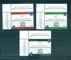 Palestine 2013- UNESCO Recognition Of State Of Palestine Set (3v) - Palestine
