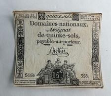 1792 ASSIGNAT 15 SOLS SERIE 358 BUTTIN - Assignats