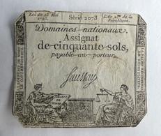 1793 ASSIGNAT 50 SOLS SERIE 2073 SAUSSAY - Assignats
