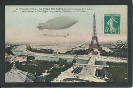 75 PARIS. BALLON  DIRIGEABLE MILITAIRE.  TOUR EIFFEL. TROCADERO...C3960 - Luchtschepen