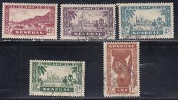 Senegal, Scott #152, 156, 167-168, 184, Mint Hinged/Used, Faidherbe Bridge, Dioubel Mosque, Woman, Issued 1935-38 - Oblitérés