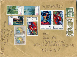 1974 Large Envelope Hamburg Einschreiben To Belgium - Cover With 11 DB And Berlin Stamps - Covers & Documents
