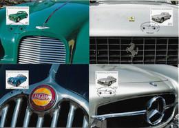 Liechtenstein 2013 Complete Series With 4 Maximum Card Transport Car Automobile Mercedes Ferrari Jaguar Aston Martin - Coches