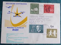 LH  117  Düsseldorf  London 1958    Air Aviation  First Flight Erstflug   #cover5306 - Aviones