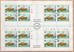 Tuvalu Used Set In Blocks Of 16 Stamps On Paper - Aviones
