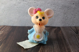 N.O.S. Best Vintage Rubber Toy USSR 1980s Soviet Beeps Toy Charming Blue Mouse. Baby Doll - Bambole