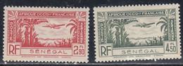 Senegal, Scott #C13-C14, Mint Hinged, Plane Over Costal Area, Issued 1940 - Poste Aérienne
