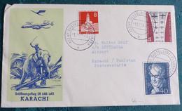 LH  640   Düsseldorf  Karachi   1959    Air Aviation  First Flight Erstflug   #cover5317 - Aviones