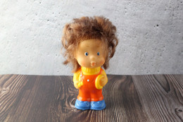 N.O.S. Best Vintage Rubber Toy USSR 1980s Soviet Toy Boy Figurine PONCHIK Brown Hair From Neznaika. Baby Doll - Peluche