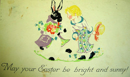 CPA  LAPIN HABILLE ET ENFANT . 1921 . ART DECO . CHILD WITH DRESSED RABBIT . BUNNY  OLD PC - Dressed Animals