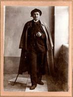 Tirage Photo Albuminé Cartonné Original - Jeune Homme Gossfried Schellander John à 16 Ans Un 28.06.1910 (Légende Dos) - Personnes Identifiées