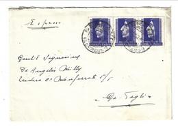 1952 Lettera Espresso Da Bergamo Per Pegli GENOVA. Striscia Di 3 Esemplari Savonarola - 1946-60: Marcophilia