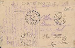 Marque D'arrivée Paris RP 9 Distribution 1 Seul Bloc Dateur +cachet Trésor Et Postes SP N° 41 De Saint Etienne (42) 1915 - 1877-1920: Periodo Semi Moderno
