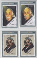 PALESTINE ALBERT EINSTEIN PSYSICS NOBEL PRIZE SET OF 4 CARDS - Personaggi