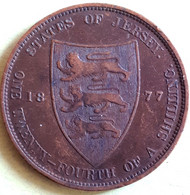 JERSEY : 1/24 Th Of A SHILLING 1877 H KM 7 HIGH GRADE Low Mintage - Jersey