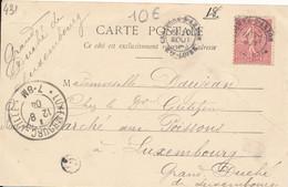 Tampon Boite Rurale G De Saint Julien D'Ance Par Craponne Sur Arzon (43 Haute Loire) 1904 Pour Luxembourg - 1877-1920: Periodo Semi Moderno