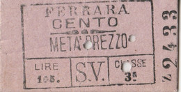 BIGLIETTO TRENO EDMONDSON FERRARA CENTO META PREZZO (MF1510 - Europa