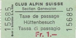 BIGLIETTO TASSA DI PASSAGGIO CLUB ALPINE SUISSE (MF1684 - Tickets - Vouchers