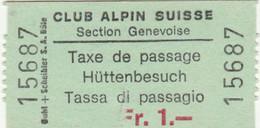 BIGLIETTO TASSA DI PASSAGGIO CLUB ALPINE SUISSE (MF1686 - Tickets - Vouchers