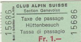 BIGLIETTO TASSA DI PASSAGGIO CLUB ALPINE SUISSE (MF1685 - Tickets - Vouchers