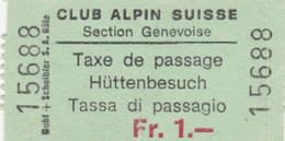 BIGLIETTO TASSA DI PASSAGGIO CLUB ALPINE SUISSE (MF1687 - Tickets - Vouchers