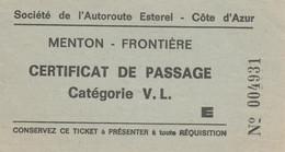 CERTIFICATO DI PASSAGGIO MENTON FRONTIERE (MF1757 - Tickets - Vouchers