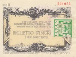 BIGLIETTO INGRESSO MUSEO L.200+20 (MF1759 - Tickets - Vouchers