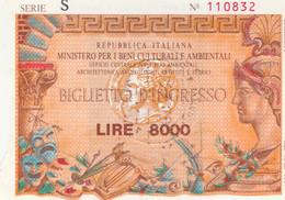 BIGLIETTO INGRESSO MUSEO L.8000 (MF1763 - Tickets - Vouchers