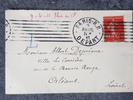 1911 Lettre Semeuse Pour Orléans Oblitération Paris - 1877-1920: Periodo Semi Moderno