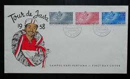 Indonesie 1958 FDC Wielerwedstrijd 'Tour De Java I 1958' (onbeschreven Met Open Klep) - Indonesia