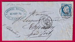 1ER JOUR CAD SUR TIMBRE 30 MARS 1876 N°60 CAD TYPE 18 CAEN CALVADOS CAD TYPE 18 JORT AU DOS - 1849-1876: Klassik