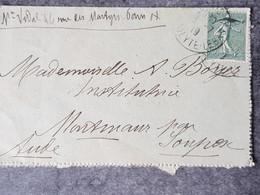 1919 Carte Lettre Avec Semeuse Et Correspondance Familiale France Soupres Aude - 1877-1920: Periodo Semi Moderno