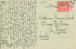 Timbre Pub Le Secours Vie Sur Carte Postale De Montrichard (41) 1927 - 1921-1960: Moderne