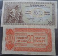 Yugoslavia 20 & 50 Dinara Miner 1946 Lot - Yugoslavia