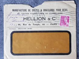 1941 LETTRE COMMERCIALE MANUFACTURE DE CREPES ET BRASSARD POUR DEUIL A PARIS  TB Mercure - 1921-1960: Moderne