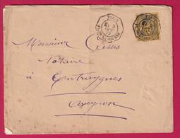 N°93 SEUL SUR LETTRE LEVEE EXCEPTIONNELLE PARIS PL DE LA BOURSE LEVEE E1 POUR ENTRAYGUES AVEYRON 1879 SIGNE ROUMET - 1877-1920: Periodo Semi Moderno