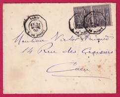 N°89 PAIRE LEVEE EXCEPTIONNELLE PARIS R DE POISSY LEVEE E2 POUR CAEN 1898 - 1877-1920: Periodo Semi Moderno