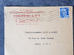 1954 Lettre Commerciale Entreprise De Transport Et Déménagement Coupeau & Cie A Laval Mayenne Pour Paris - 1921-1960: Moderne
