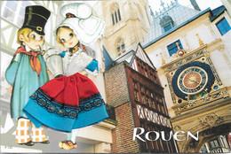 Fantaisies - Carte Brodée - La Normandie - ROUEN - 2 Jeunes En Tenue - Cpm - Vierge - - Embroidered
