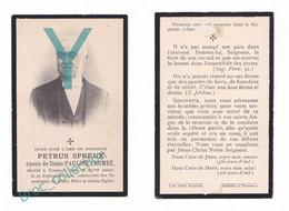 Tournai, Mémento De Petrus Spreux, époux De Pauline Combé, 25/09/1900, 88 Ans, Souvenir Mortuaire, Décès, Deuil - Andachtsbilder