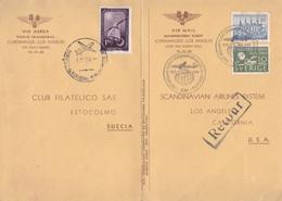 INAUGURATION FLIGHT COPENHAGEN - LOS ANGELES OVER THE NORTH POLE. SUEDE 1954 SPC CARTE.- LILHU - Aviones