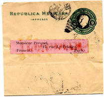 Bande Journaux Wrapper Mexique 1912 Pour Paris Impresos - Mexiko