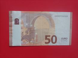 50 EURO SPAIN(VA), V006, DRAGHI, WITH BIG MISTAKE, VERY SCARCE - 50 Euro