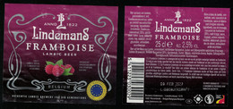 Belgique Lot 2 Étiquettes Bière Beer Labels Lindemans Framboise - Birra