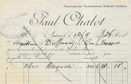 1924 / Haut De Facture Paul CHALOT / Charbon / 70 Luxeuil - 1900 – 1949