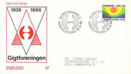 Denmark FDC 1986 Welfare Stamp Gigtforeningen (DD30-34) - FDC