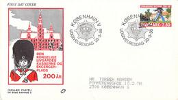 Denmark FDC 1986 Livgardens Kaserne 200 år (DD30-34) - FDC