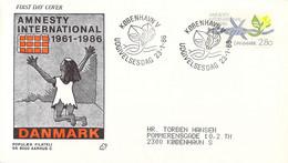 Denmark FDC 1986 Amnesty International   (DD30-34) - FDC
