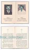 Massul, Lescheret, Mémento De Léon Poncelet Et Mme, Née Marie Gérard, 31/10/1966 Et 19/09/1966, Souvenir Mortuaire - Andachtsbilder